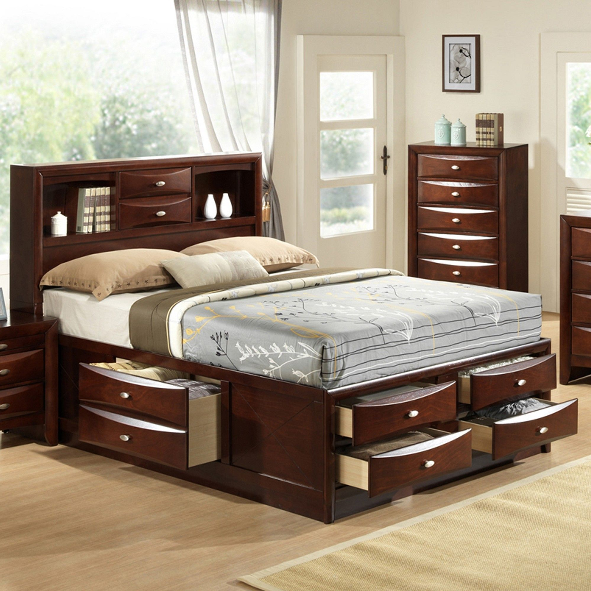 features 2 drawers and 2 open storage s for the headboard 6