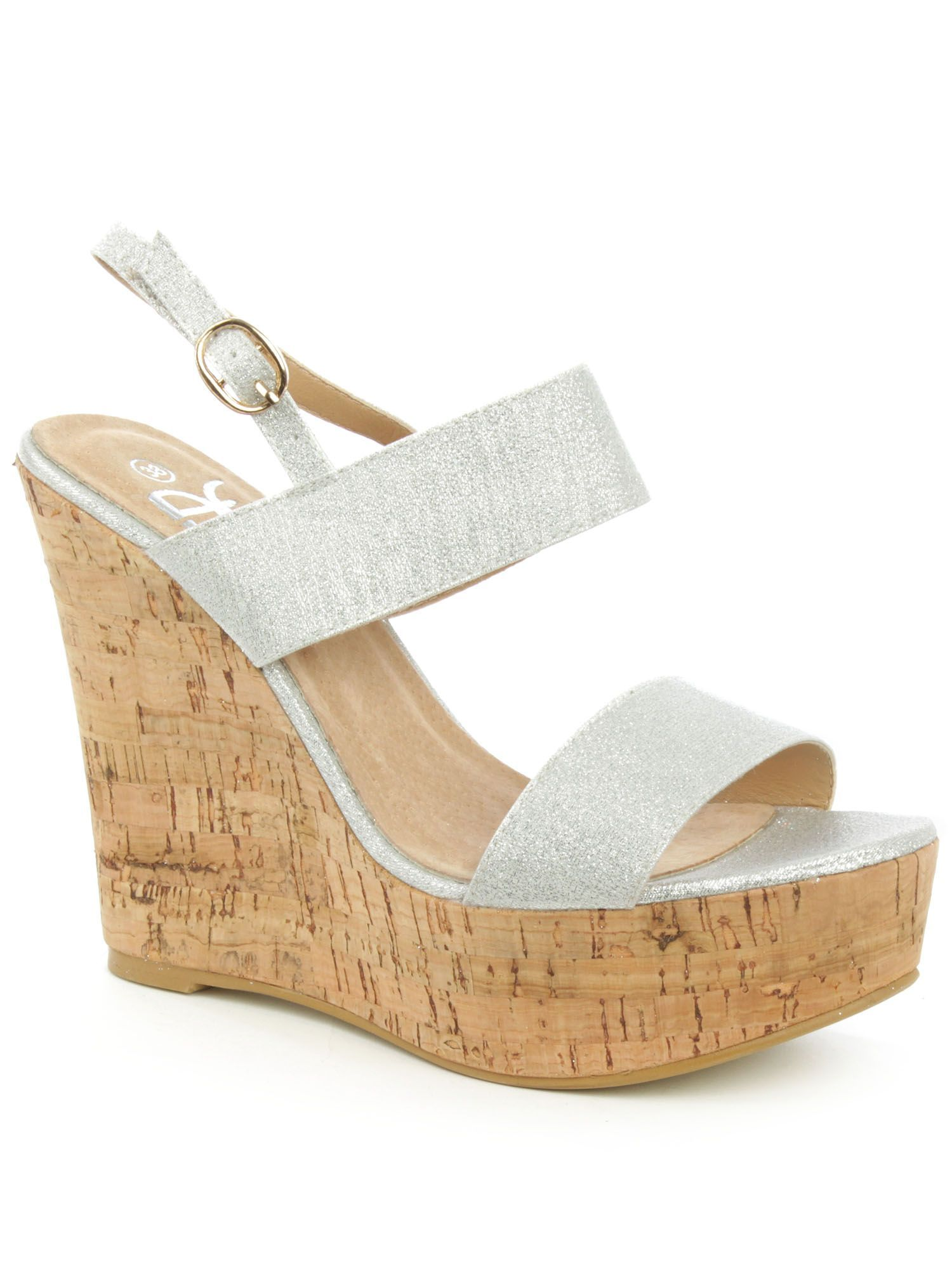 Daniel Wirral shimmer high cork wedge sandals, Silver Metallic