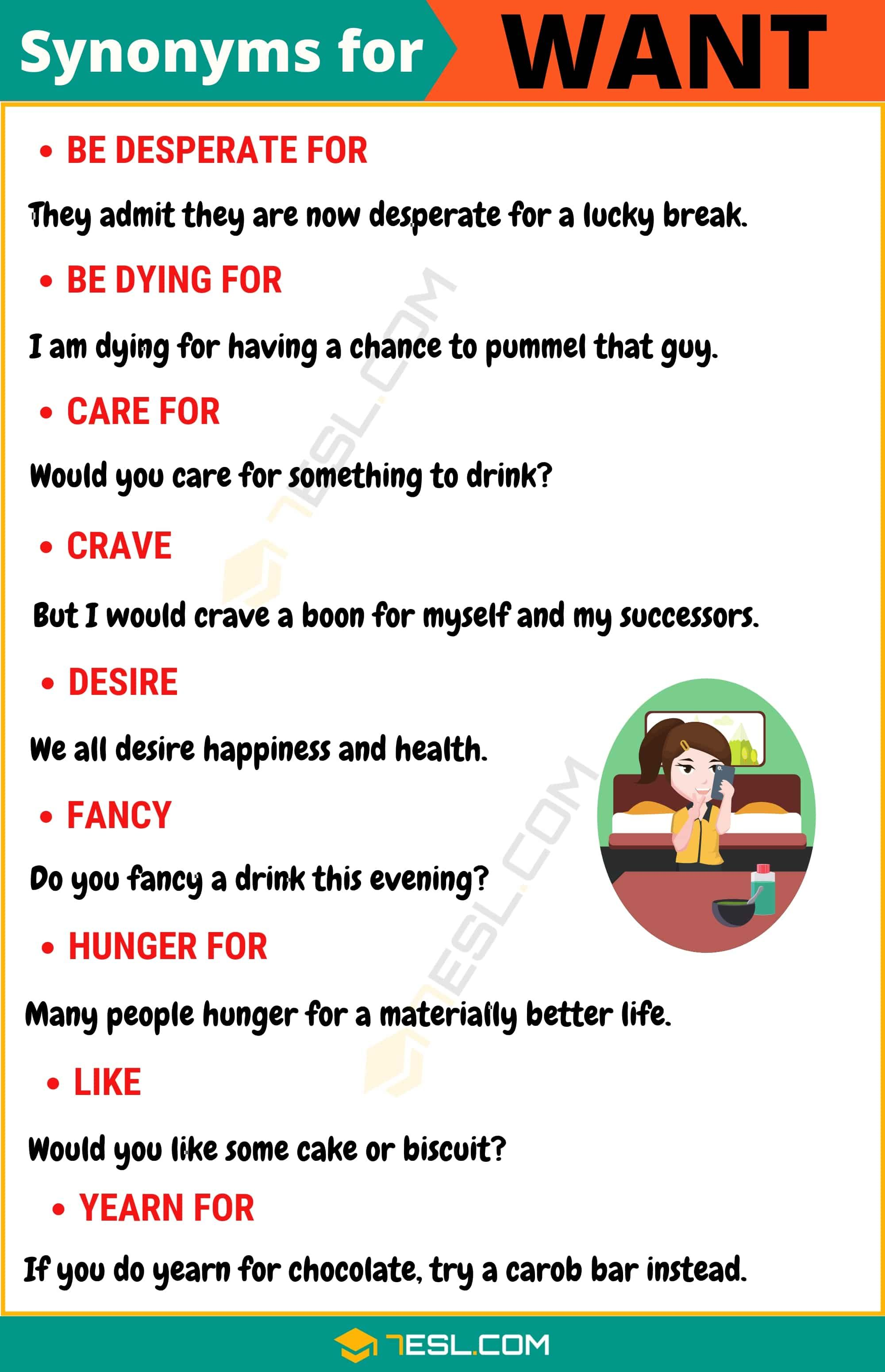 Want Synonym List Of 105 Synonyms For Want With Useful Examples 7 E S L Learn English Words Learn English Vocabulary English Vocabulary Words