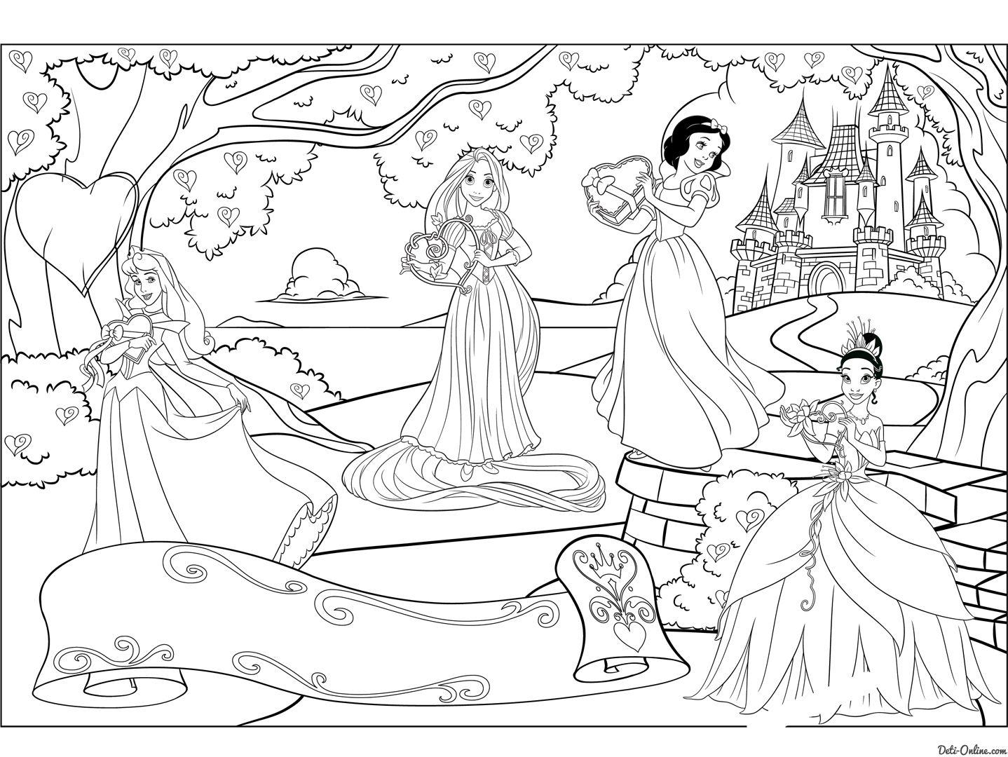 раскраска принцессы дисней день святого валентина