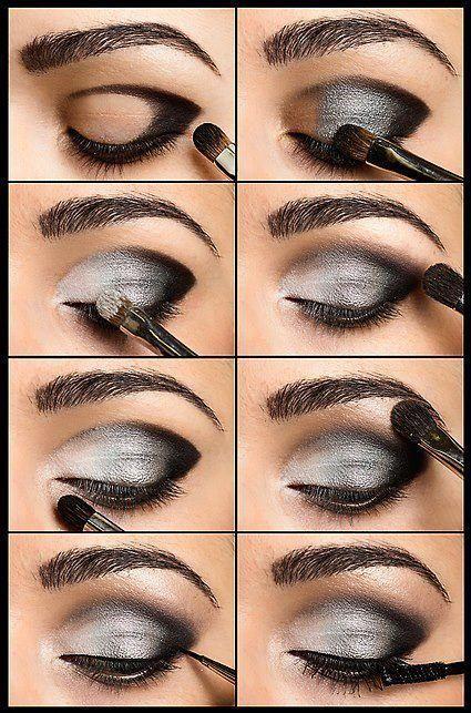 Maquillaje de ojos de noche para vestido gris