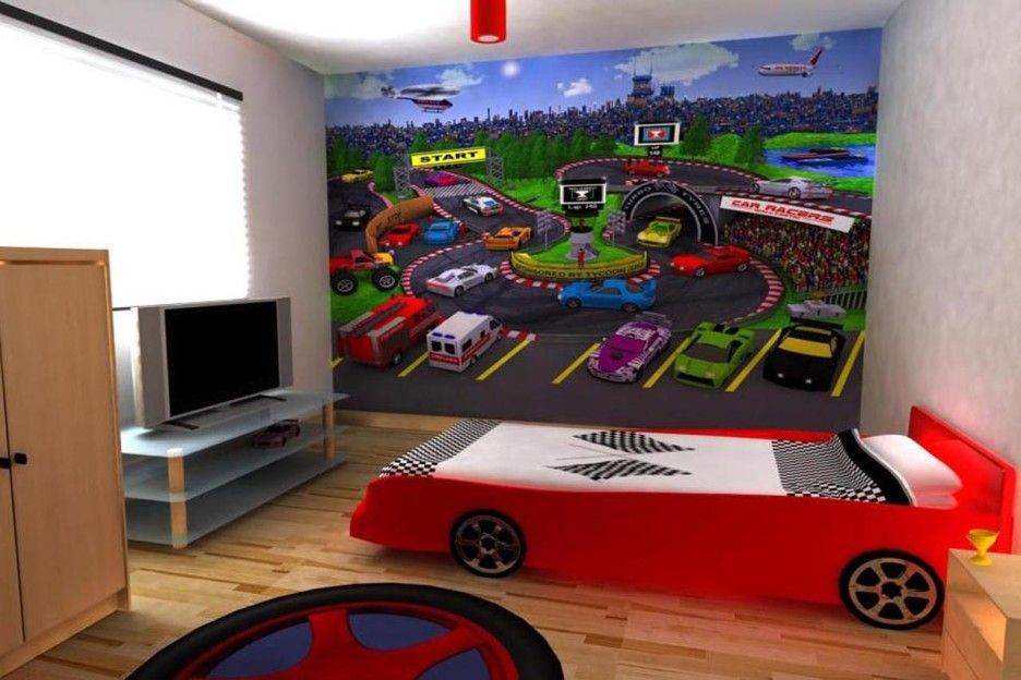 Race Car Themed Feature Wall Boys Room Image Kids Bedroom Themes Boys Room Design Toddler Boys Room