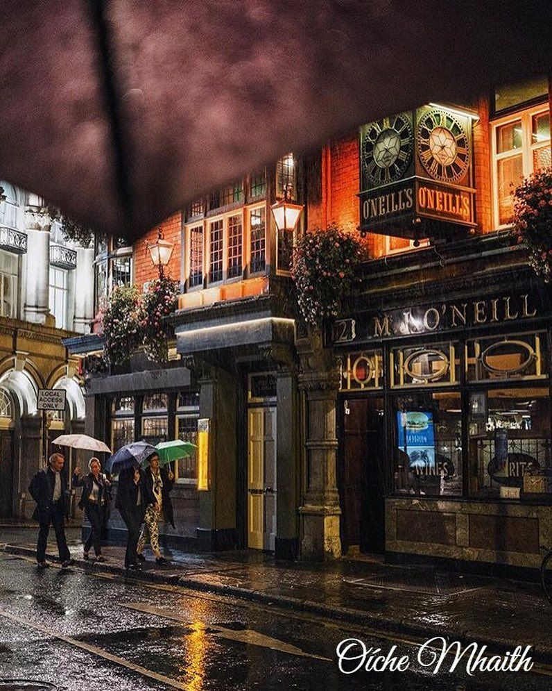 Good Night From Ireland Another rainy night in Dublin this one captured from under an umbrella by @davemil74 If you're going to get caught in the rain then having it happen near O'Neills isn't bad is it?