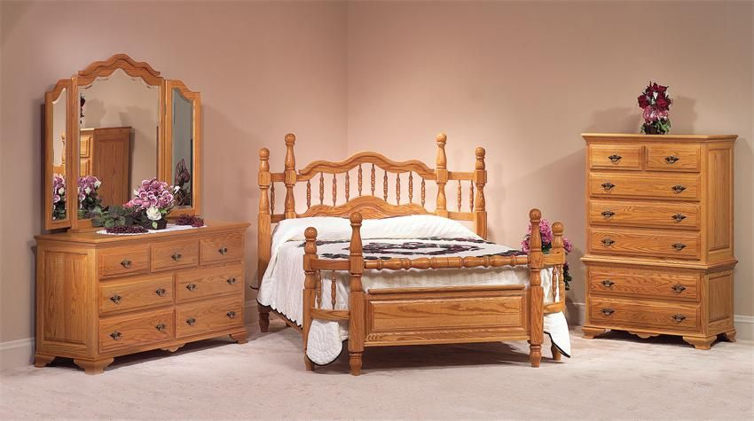Amish Wrap Around Oak Wood Four Piece Bedroom Furniture Set