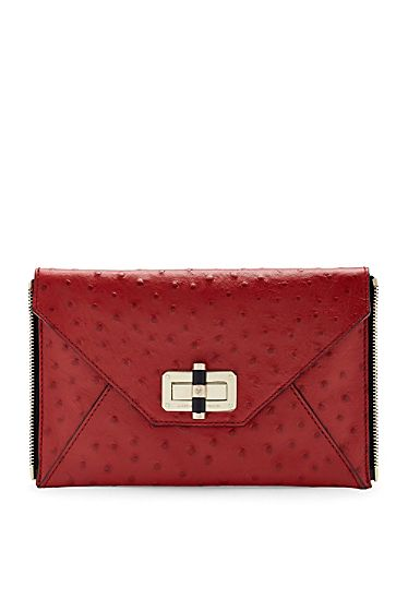 Agent Sophia Embossed Ostrich Zip On Clutch