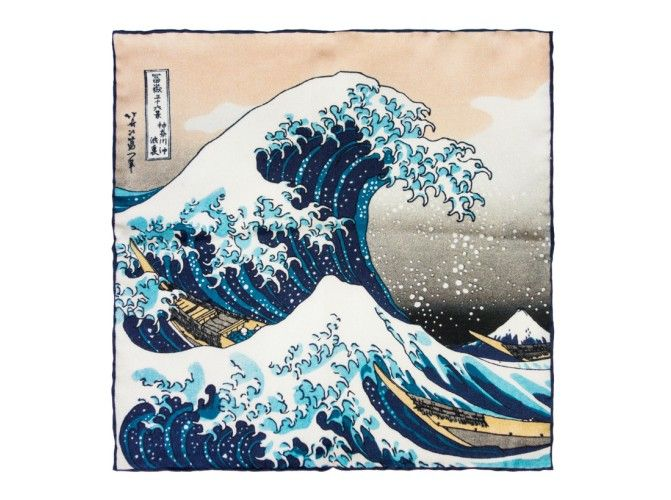 The Great Wave Pocket Square - 100% silk, made in France. The Great Wave off Kanagawa is a woodblock print by the Japanese artist Hokusai. An example of ukiyo-e art, it is the first in Hokusai's series Thirty-six Views of Mount Fuji, and is his most famous work.