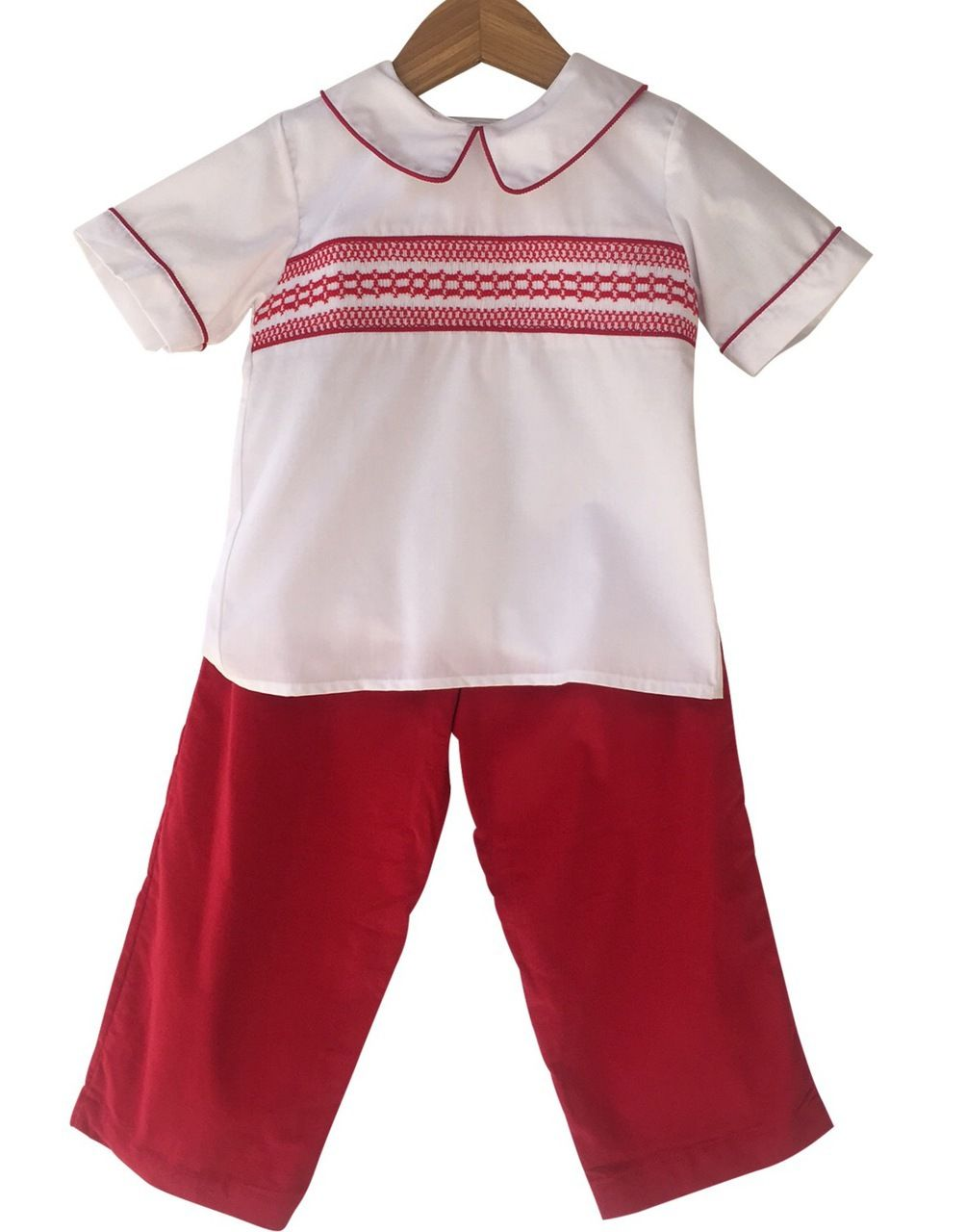 f113d217f Smock It To Me - Liney Lu Boys Smocked Geometric Pant Set with Corduroy  Bottoms,