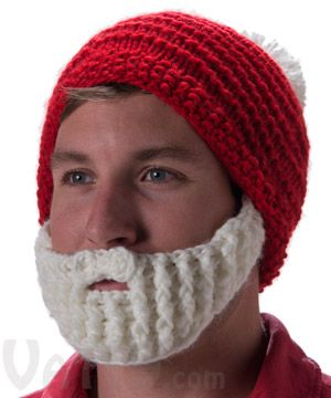 66d3851103e Santa Beardo Beard Hat  Knitted red beanie with detachable white beard.