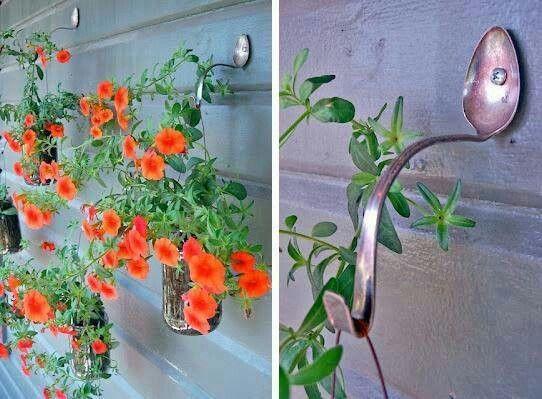 ganchos para jardineras colgante reciclaje de cucharas viejas