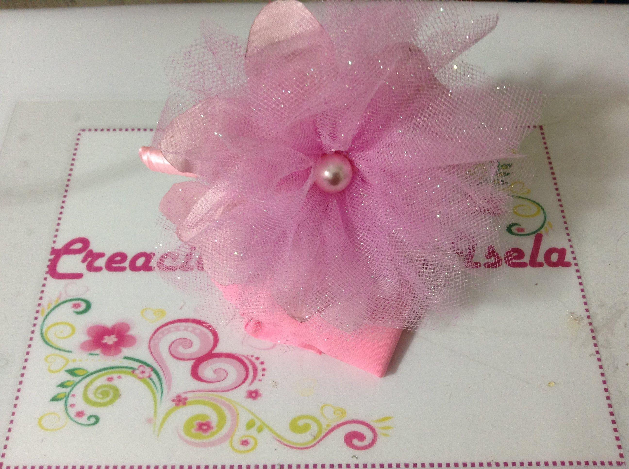 diadema con flor de tela y tul creaciones rosa isela video