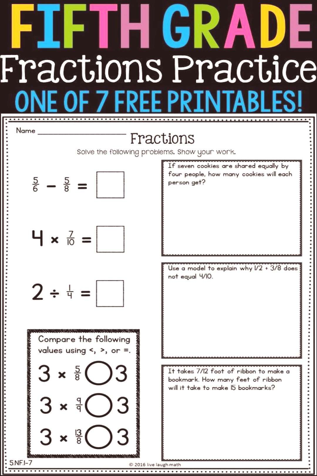 Free Fifth Grade Fractions Printable Can Be Used As Daily