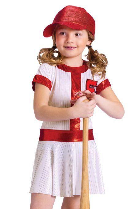 amazoncom fun world kids girls baseball sports halloween costume dress medium clothing - Baseball Halloween Costume For Girls
