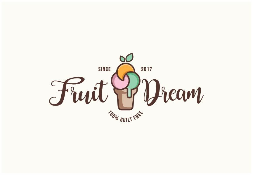 Ice Cream Logo Design Summer Refreshment Graphic Design Vector Digital Art Icecream Ice Cream Fru Fruit Logo Design Ideas Fruit Logo Design Fruit Logo