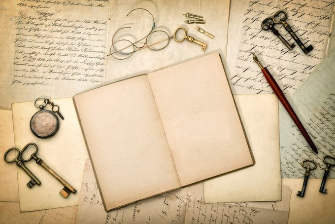 Open Diary Book And Old Letters Old Letters Old Diary Diary Book