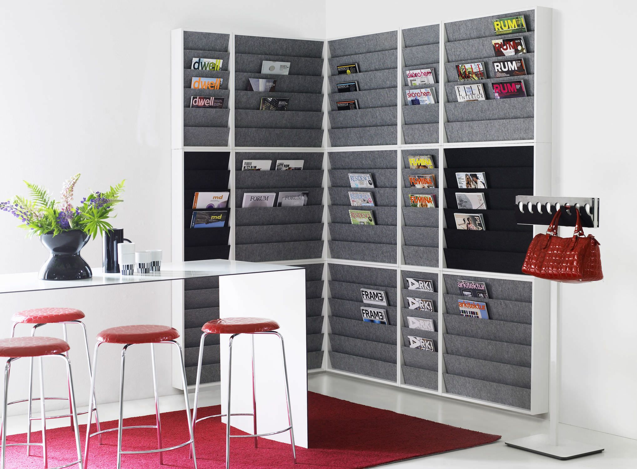 to mount net rack wall for magazine chrome mounted attributed modern