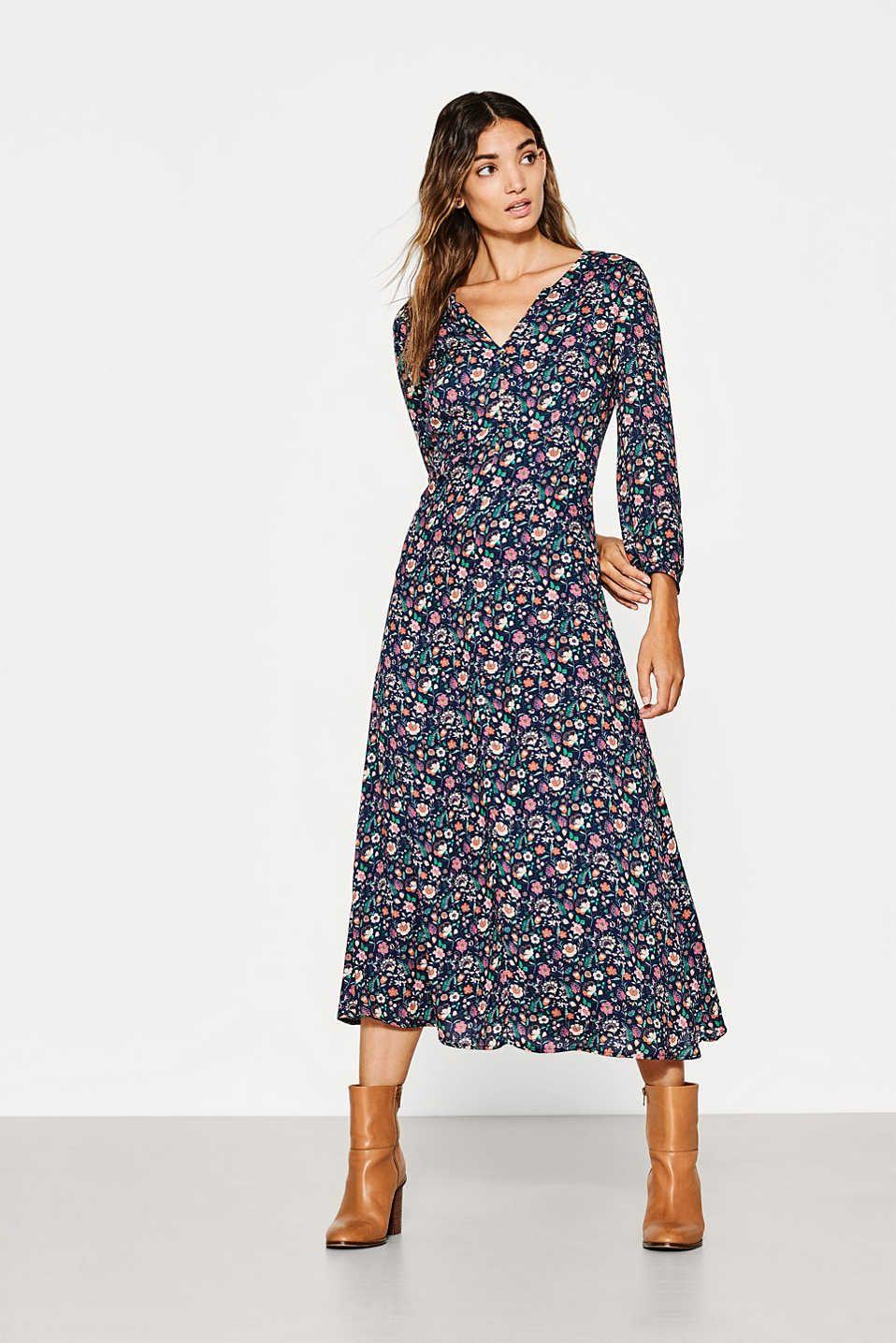 Lejaca Sukienka Midi Z Nadrukiem W Kwiaty Flowing Midi Dresses Midi Dress Dresses