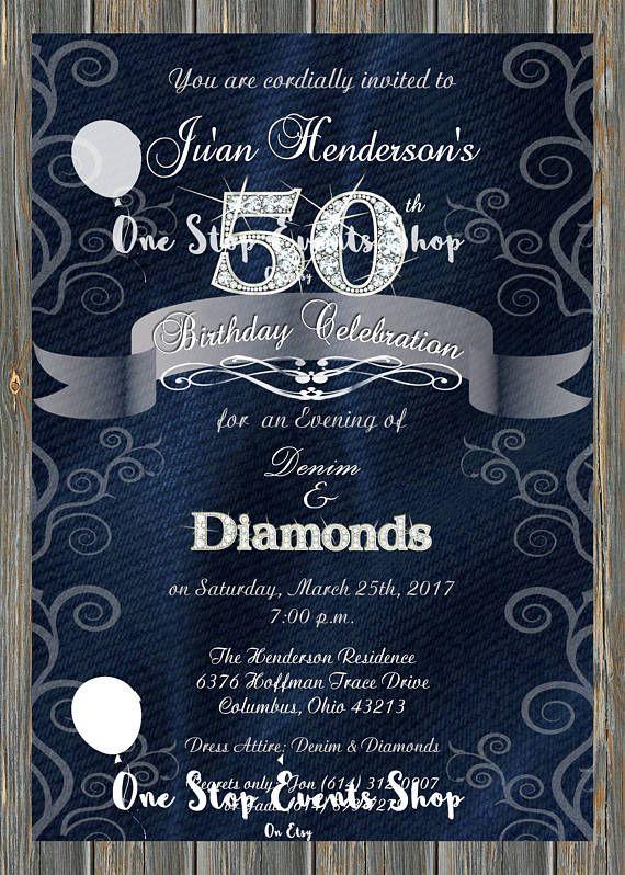 denim  u0026 diamonds elegant birthday party invitation 50th