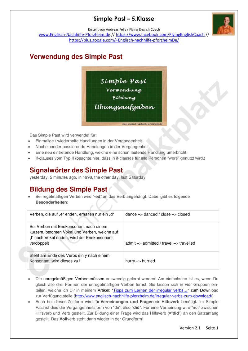 Simple Past - Arbeitsblätter mit Lösungen (5. Klasse) - PDF und Docx ...