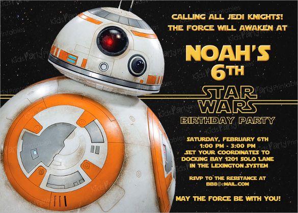 20 Star Wars Birthday Invitation Templates Free Sample Example