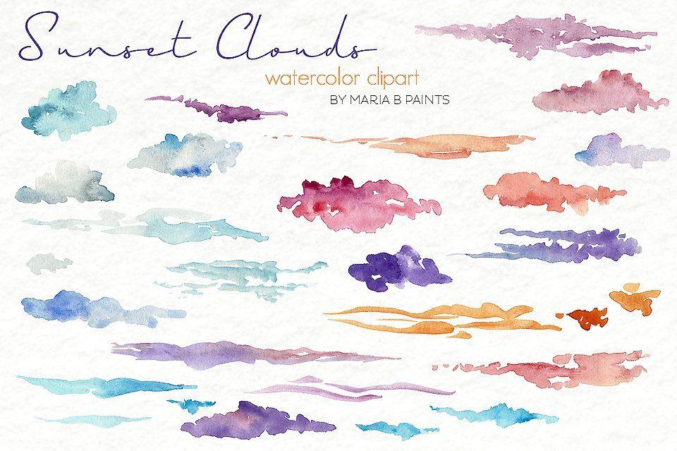 Watercolor Clip Art Sunset Clouds Watercolor Clouds
