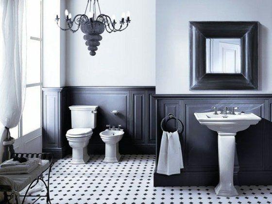 salle de bain retro noir blanc | wc | Salle de bain retro ...