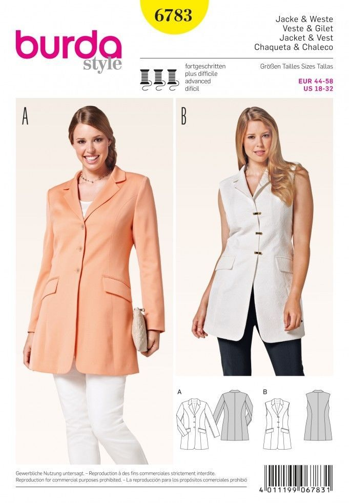 Burda Ladies Plus Size Sewing Pattern 6783 Smart Suit Jacket ...