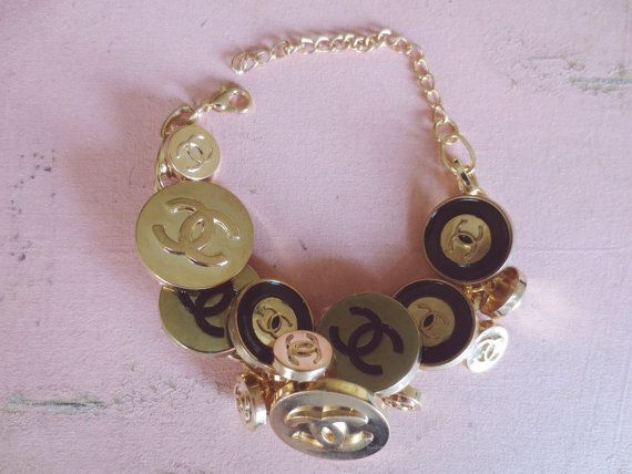 Chanel Inspired Black And Gold Monogram Button Chunky Charm