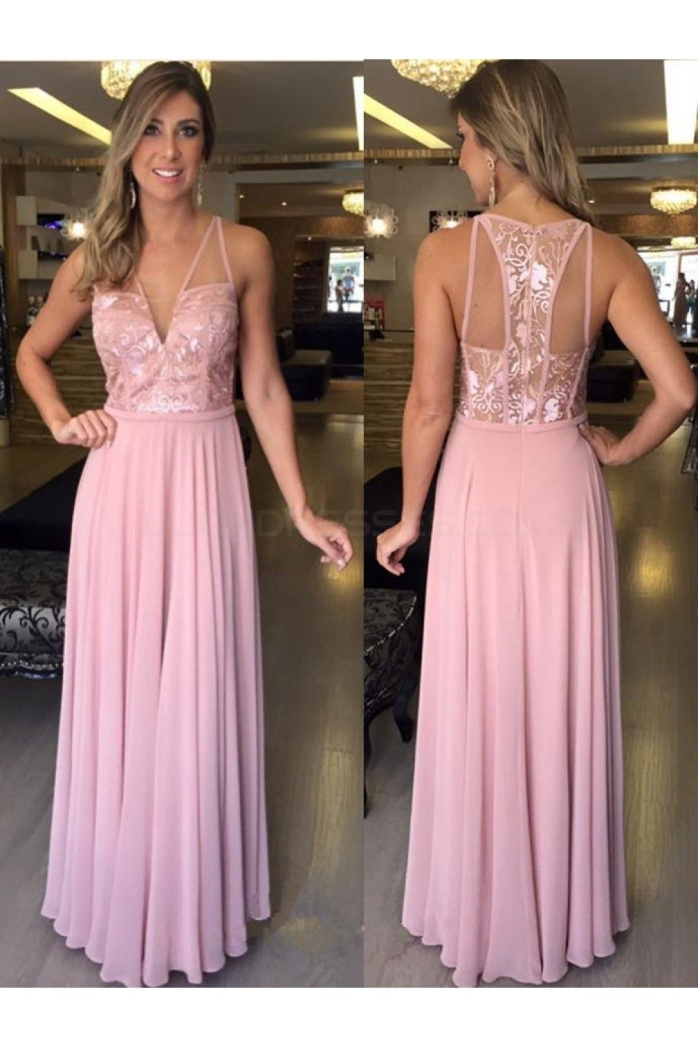 Long Pink Lace Chiffon Prom Formal Evening Party Dresses 3020814 ...