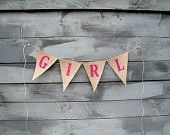 Girl glittered burlap bunting, photography prop