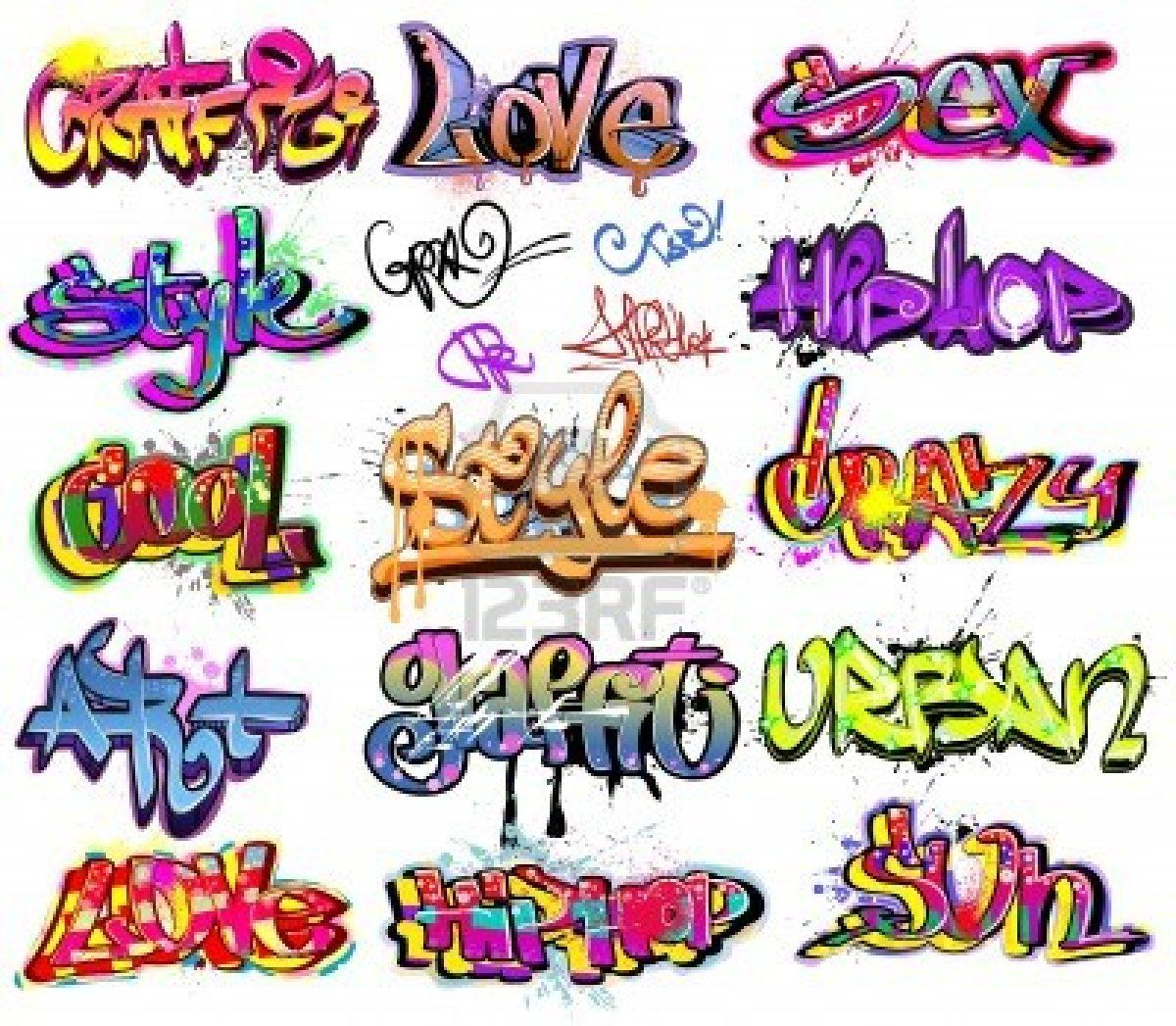 Follow you and other word designs in graffiti style graffiti urban art vector set stock photo 11485963