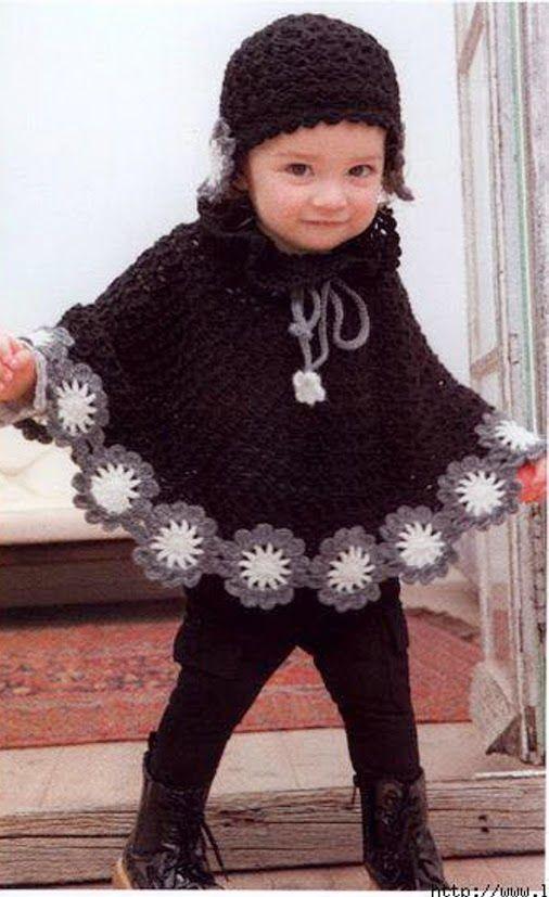 448 Capa de niña a Crochet ~ Patrones de Crochet ->… | Tejido para ...