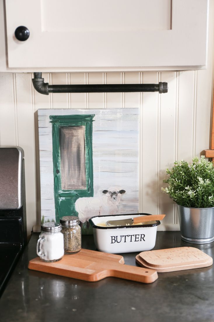 Diy industrial farmhouse paper towel holder with images