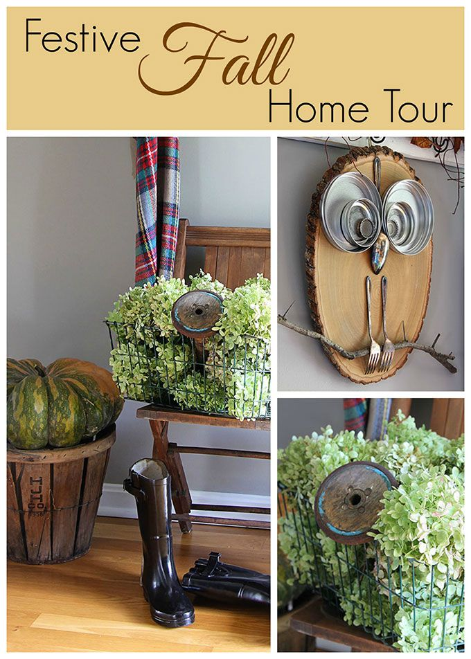 quick and easy ideas for fall decor in the entryway using hydrangeas and thrift store finds