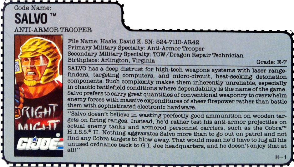 """The filecard for Salvo, a G.I.Joe anti-armor trooper, from the ninth series of 3 3/4"""" Joe action figures from Hasbro"""