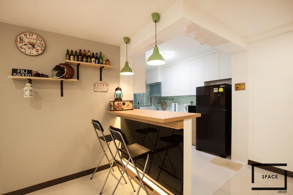 Fernvale Riverbow, Contemporary HDB Interior Design, Bar Counter ...