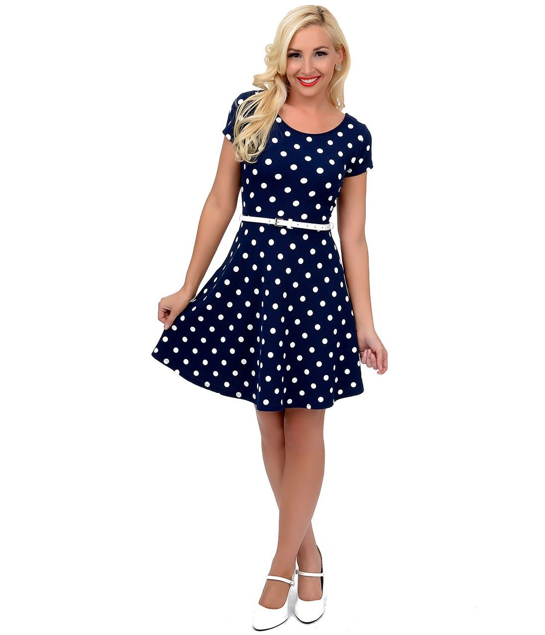 Navy Blue & White Polka Dot Short Sleeve Belted Flare Dress ...