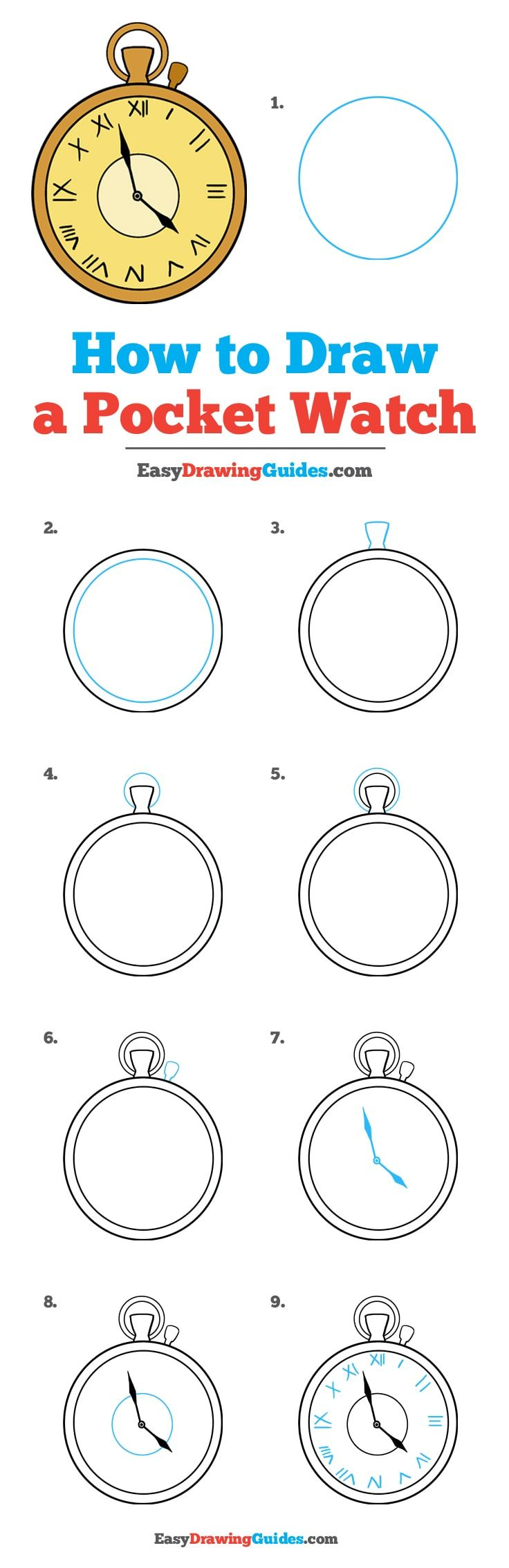 How to Draw a Pocket Watch - Really Easy Drawing Tutorial ...