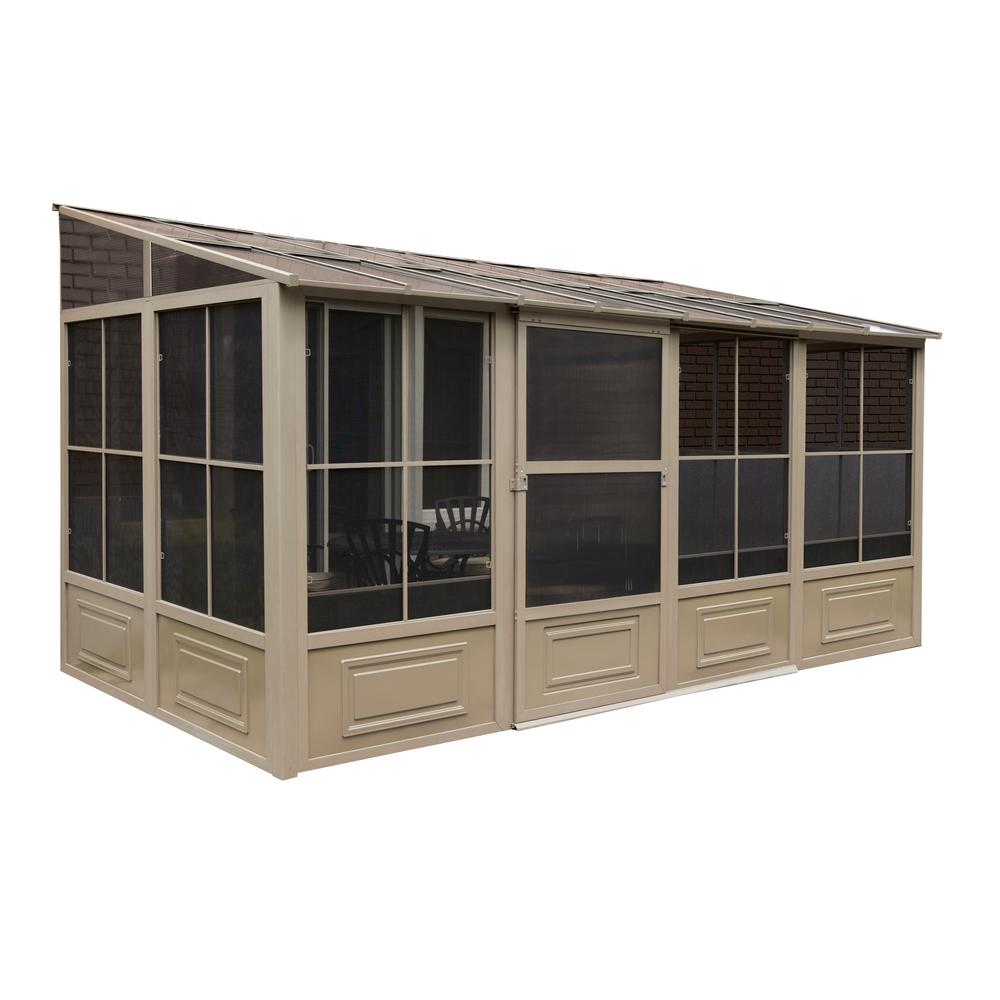 Gazebo Penguin Florence Add A Room Solarium 10 Ft X 16 Ft In Sand W1610 1 2 12 The Home Depot In 2020 Add A Room Patio Gazebo Aluminum Gazebo