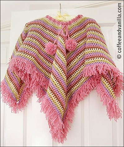 Extremely Easy Kids Crochet Poncho With Tear Drop Corner Pattern