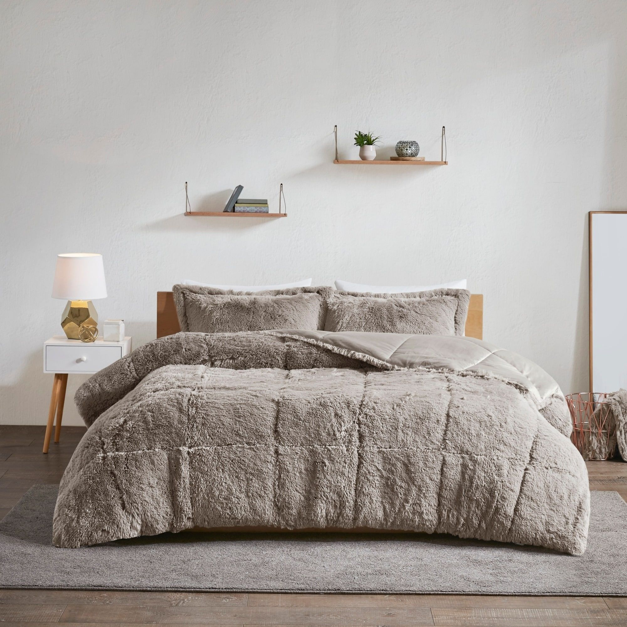 Intelligent Design Leena Shaggy Faux Fur King Cal King Size Comforter Set In Grey As Is Item King Cal King Grey Gray Id Intelligent Fur Comforter