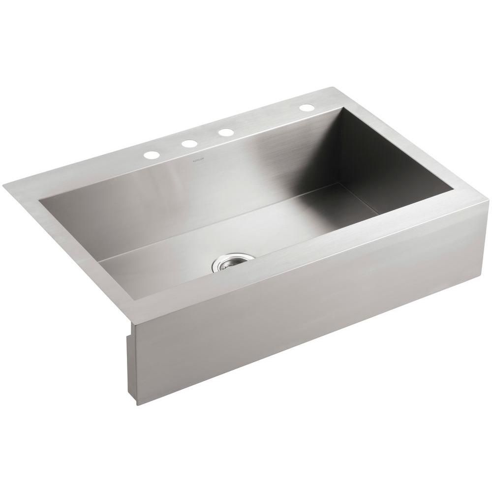 Top Mount 4 Hole Option Under 400 Home Depot Kohler Vault Top Mount Farm Apron Front Kitchen Sink Stainless Farmhouse Sink Stainless Steel Farmhouse Sink