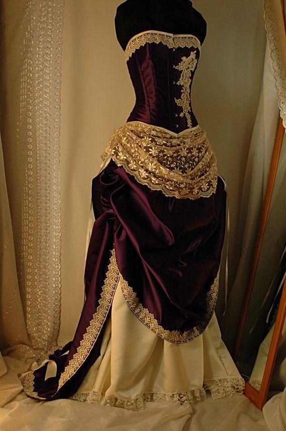 Custom made Antique cream and cadbury purple corset gown | Corset ...
