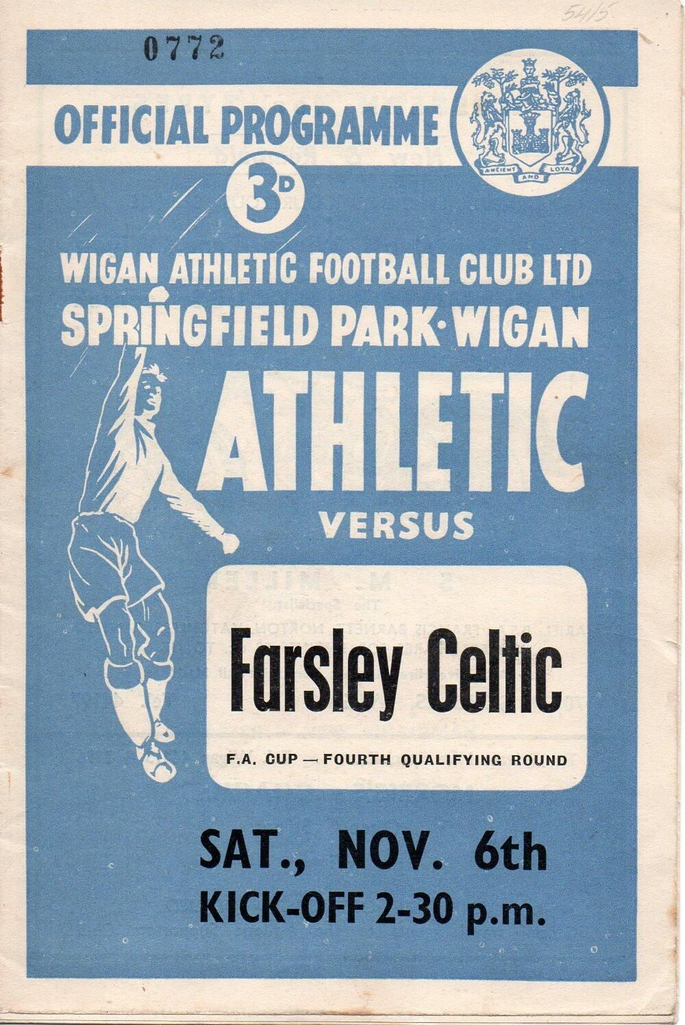 Wigan Ath V Farsley Celtic programme. Anybody know what year this was? Certainly pre decimal currency!