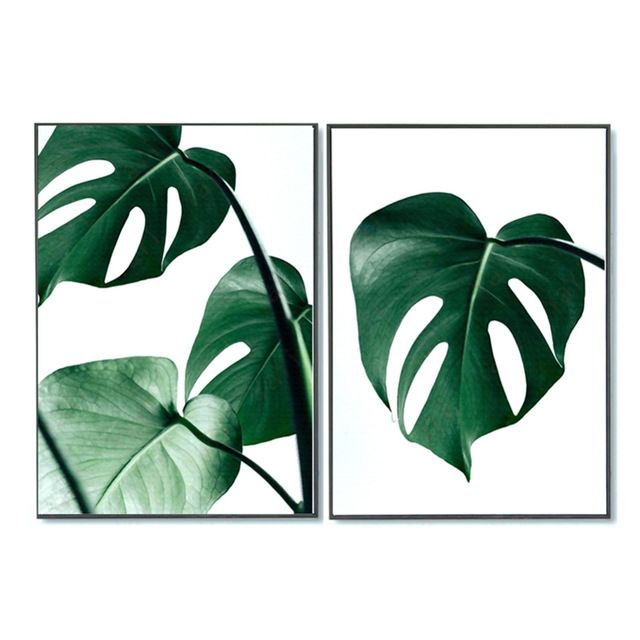 No Frame Mur Photos Aquarelle Plante Tropicale Feuille Toile Art