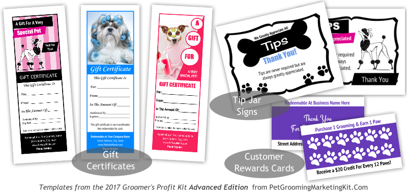 Dog grooming gift certificate templates tip jar sign templates dog grooming gift certificate templates tip jar sign templates and diy grooming rewards cards templates yelopaper Gallery