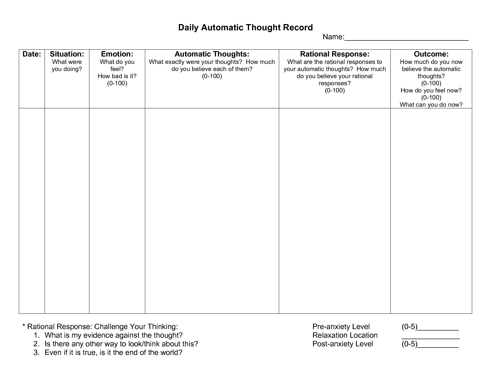 Worksheets Cognitive Behavioral Therapy Worksheets automatic thought record worksheet anxiety pinterest therapy cognitive behavioral worksheets and feeling behavior triangle worksheet