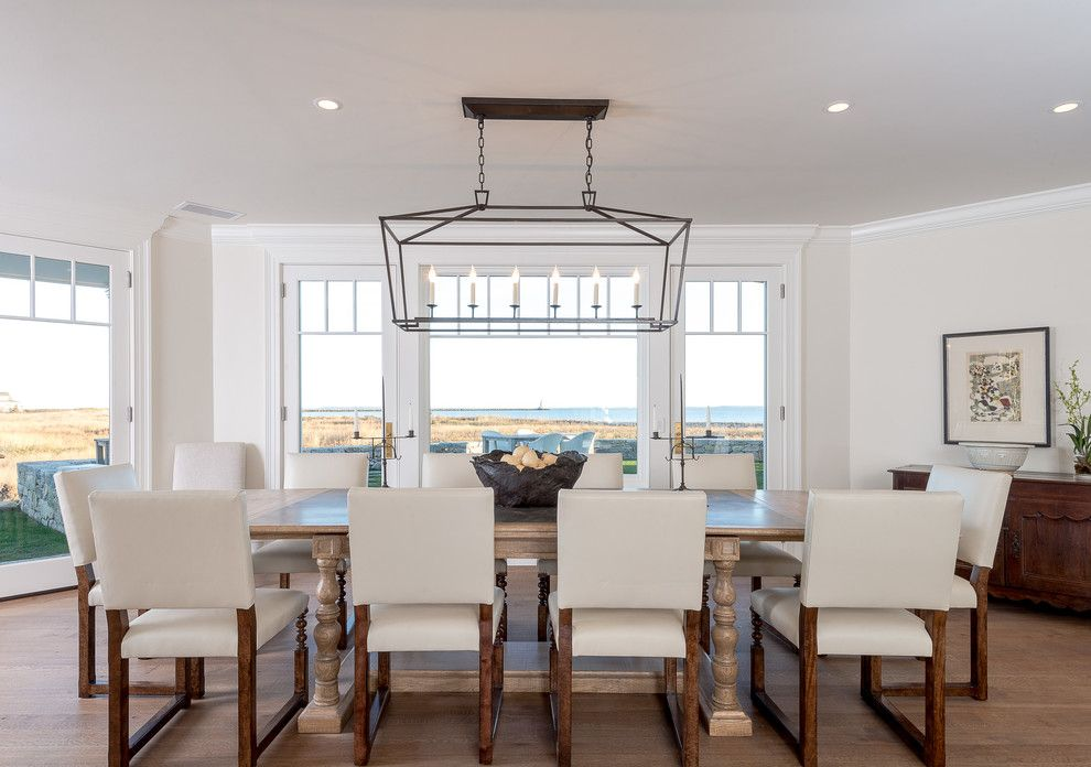Beach House Chandeliers Dining Room Beach With Antique Chest