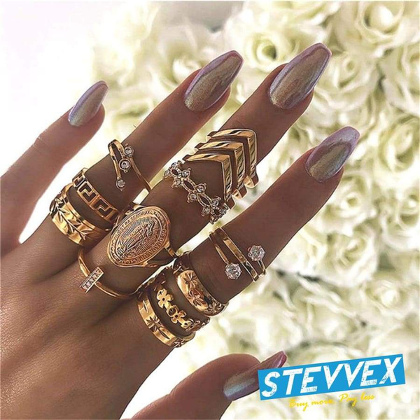 Elegant Women Fashion Mary Geometric Amazing Flowers Leaf Premium Gold Finger Rings Boho Charm Luxury Jewelry Accessories Mother's Day Gifts | Wish