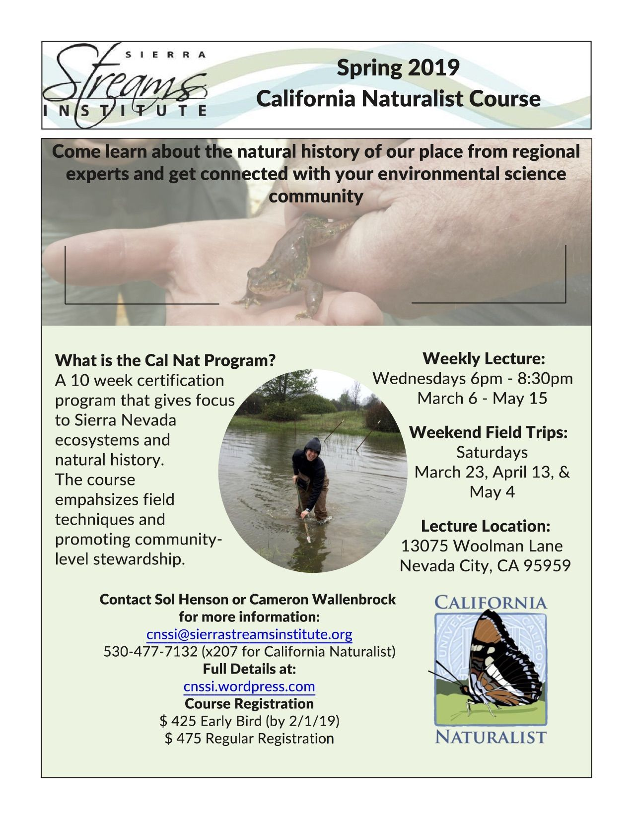 California Naturalist Course March 6 May 15 Sierra Streams