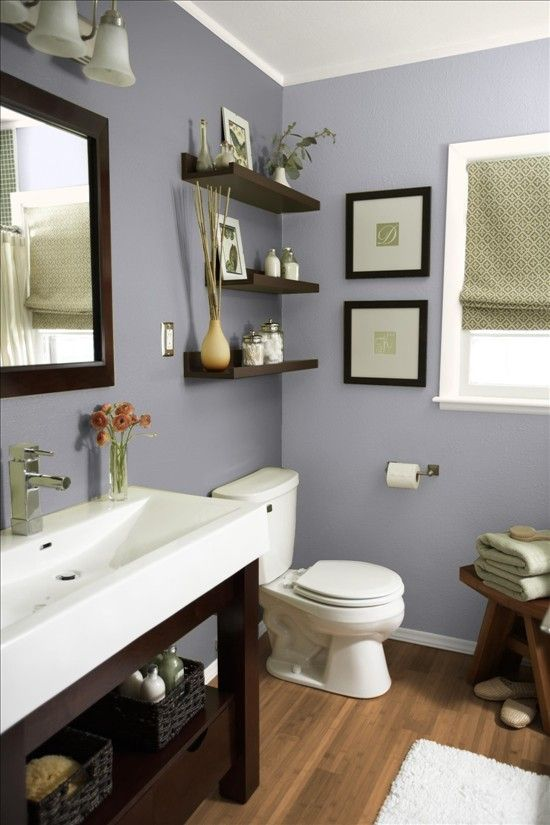 bathroom with lavender walls large white sink on dark base with rh pinterest com